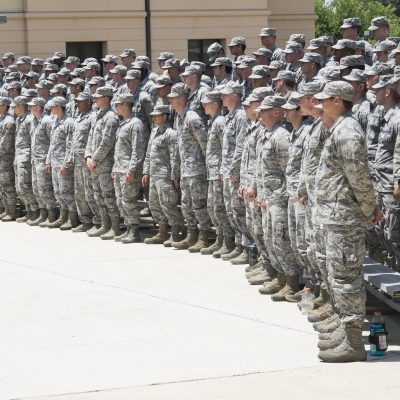 Tactical Air Control Party candidates at the 353rd Battlefield Airmen Training Squadron attend the TAC-P Memorial Rededication Ceremony outside the 353rd BATS at the Joint Base San Antonio-Lackland Medina Annex June 23, 2017. The memorial serves as a solemn reminder of the incredible responsibility that students assume when they graduate as a TAC-P member. (U.S. Air force photo by Airman Dillon Parker)