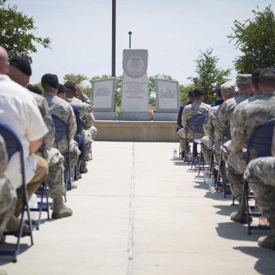 The Tactical Air Control Party Reunion Memorial outside the 353rd Battlefield Airmen Training Squadron at the Joint Base San Antonio-Lackland Medina Annex is rededicated June 23, 2017. The ceremony was held to pay special tribute to those who have paid the ultimate sacrifice while serving as a part of TAC-P or in direct support of those who do. (U.S. Air force photo by Airman Dillon Parker)